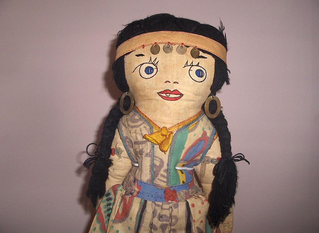 Unusual Doll Vintage Cloth Indian Girl All Original