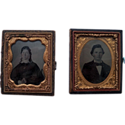 2 Victorian Daguerreotype Photos in ½ Leather Cases