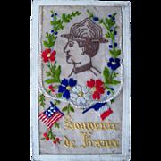 1919 WWI Souvenir de France Silk Postcard American & French Flag