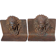 Vintage Cast Iron Native American Indian Cheif Bookends