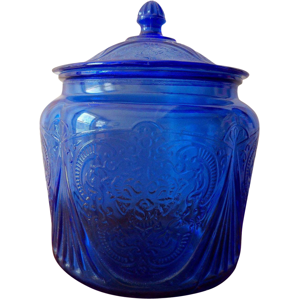 Original Cobalt Blue Royal Lace Depression Glass Cookie