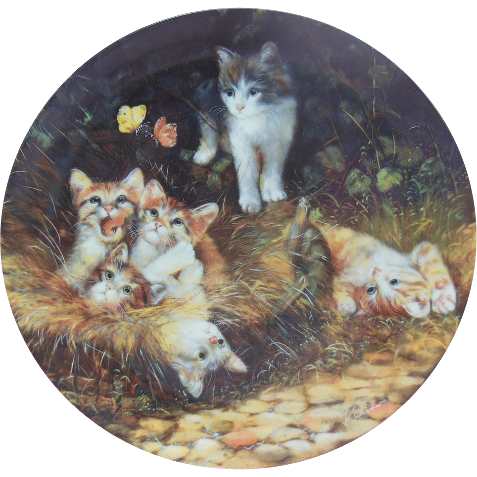 """""""Unerwarteter Besuch"""" or """"Unexpected Visit"""" Cat Collector Plate by Wolfgang Kaiser"""