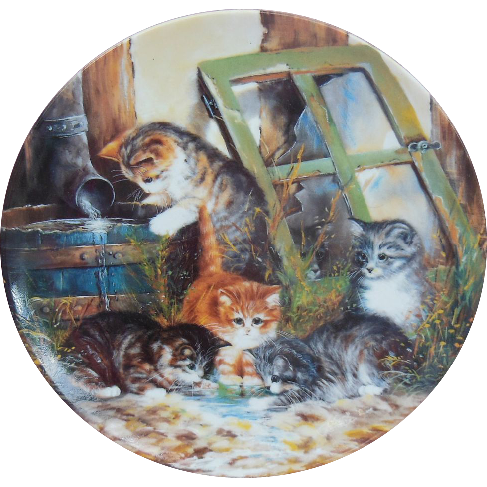"""Wasserspiele"" or ""Water Games"" Cat Collector Plate by Wolfgang Kaiser"