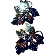 Vintage Sterling Silver Leaf Screw Back Earrings