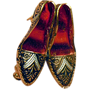 Vintage Red Black and Gold Damascene High Heel Shoes Pin