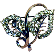 Clear Rhinestone Double Leaf Pin Silver Tone Setting