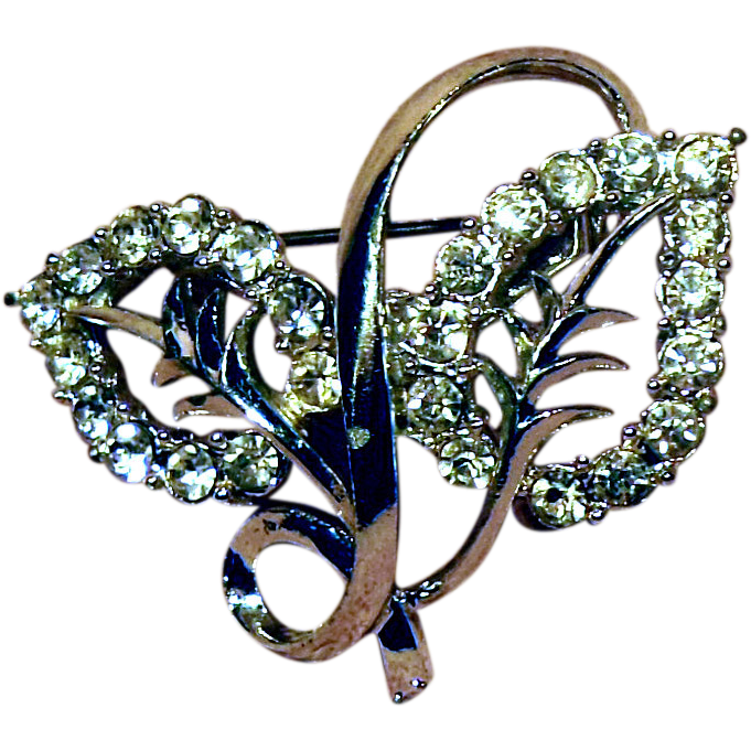 Clear Rhinestone Double Leaf Pin Silver Tone Setting