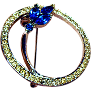 Beautiful Clear and Blue Rhinestone Circle Pin