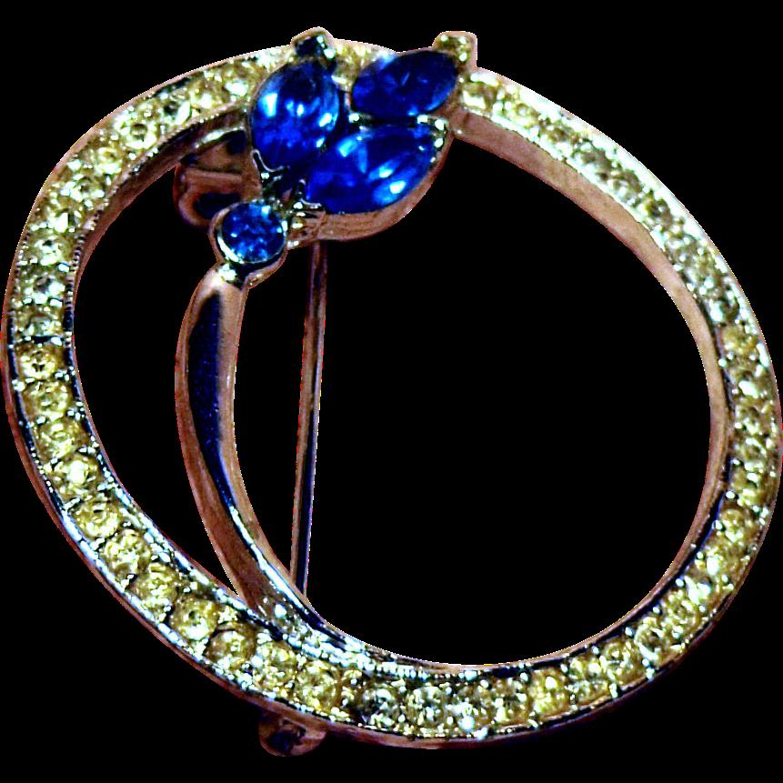 Beautiful Clear and Blue Rhinestone Circle Pin
