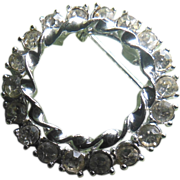 Beautiful Clear Rhinestone Double Circle Pin
