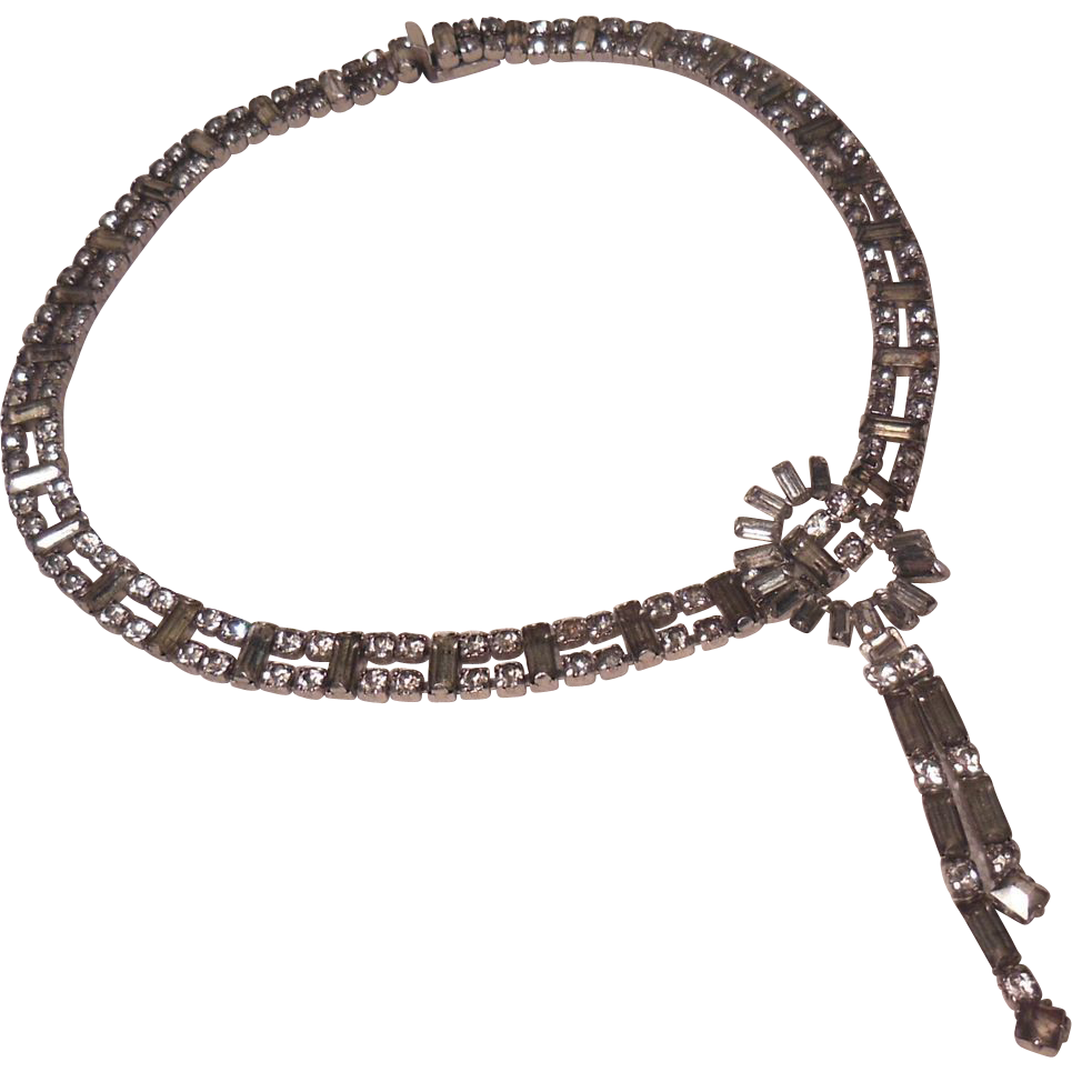 Clear Rhinestone Choker with Dangling Pendant