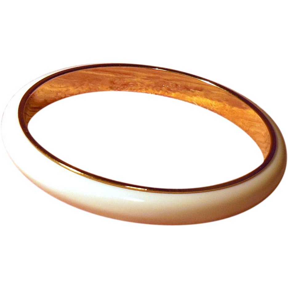 Signed Monet Classic White Lucite and Gold Tone Bangle Bracelet