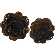 Latest Fashion Really Large Brown Plastic Flower Clip On Earrings