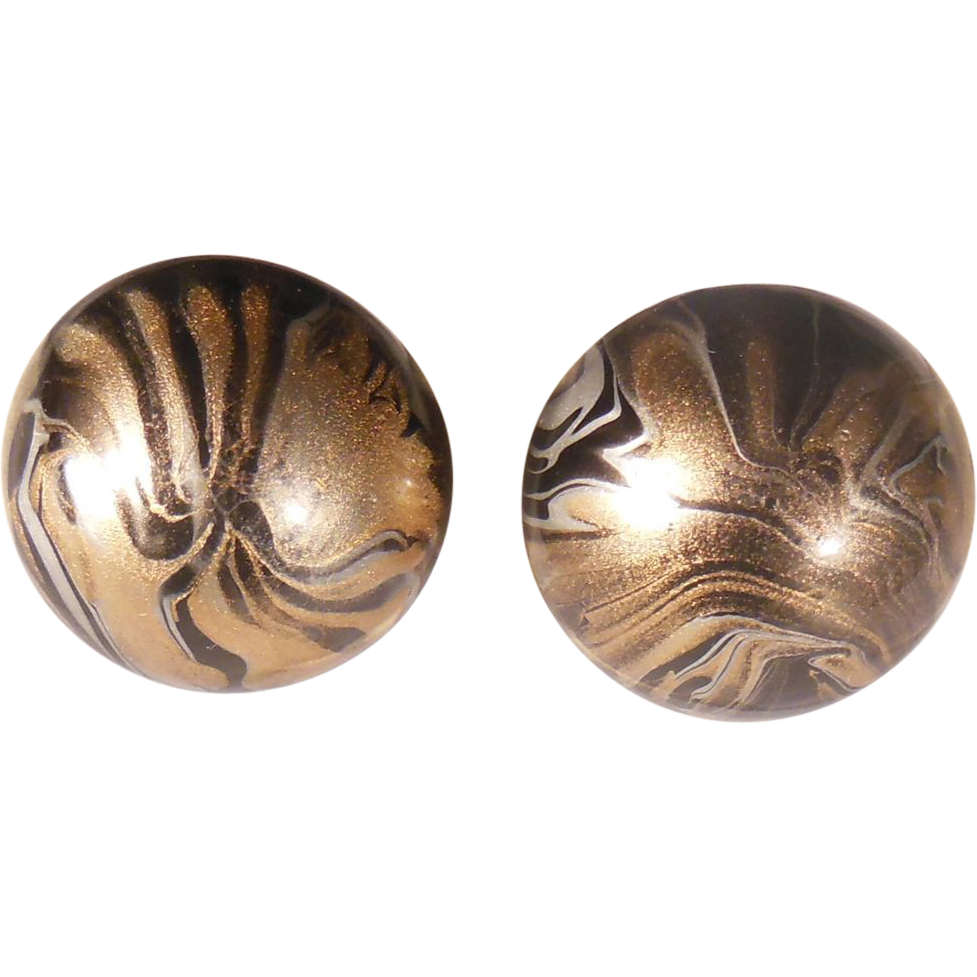 Black and Gold Marbled Round Button Clip On Earrings