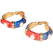 Lovely Red White and Blue Enameled Gold Tone Hoop Clip On Earrings