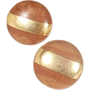 Vintage Brown and Gold Banded Round Button Clip On Earrings