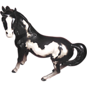 Porcelain Painted Horse Black and White Pinto Numbered Japan