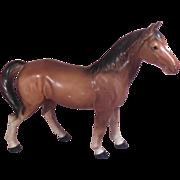 Brown Porcelain Horse Numbered Japan