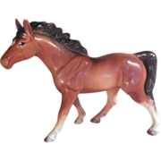 Brown Porcelain Horse Japan