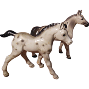 Pair of Porcelain Appaloosa White and Black Spotted Horses