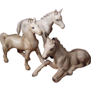 Set of Three White Porcelain Horses Numbered
