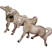 Three White Porcelain Horses Numbered Japan