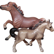 Pair of Brown Porcelain Horses Japan