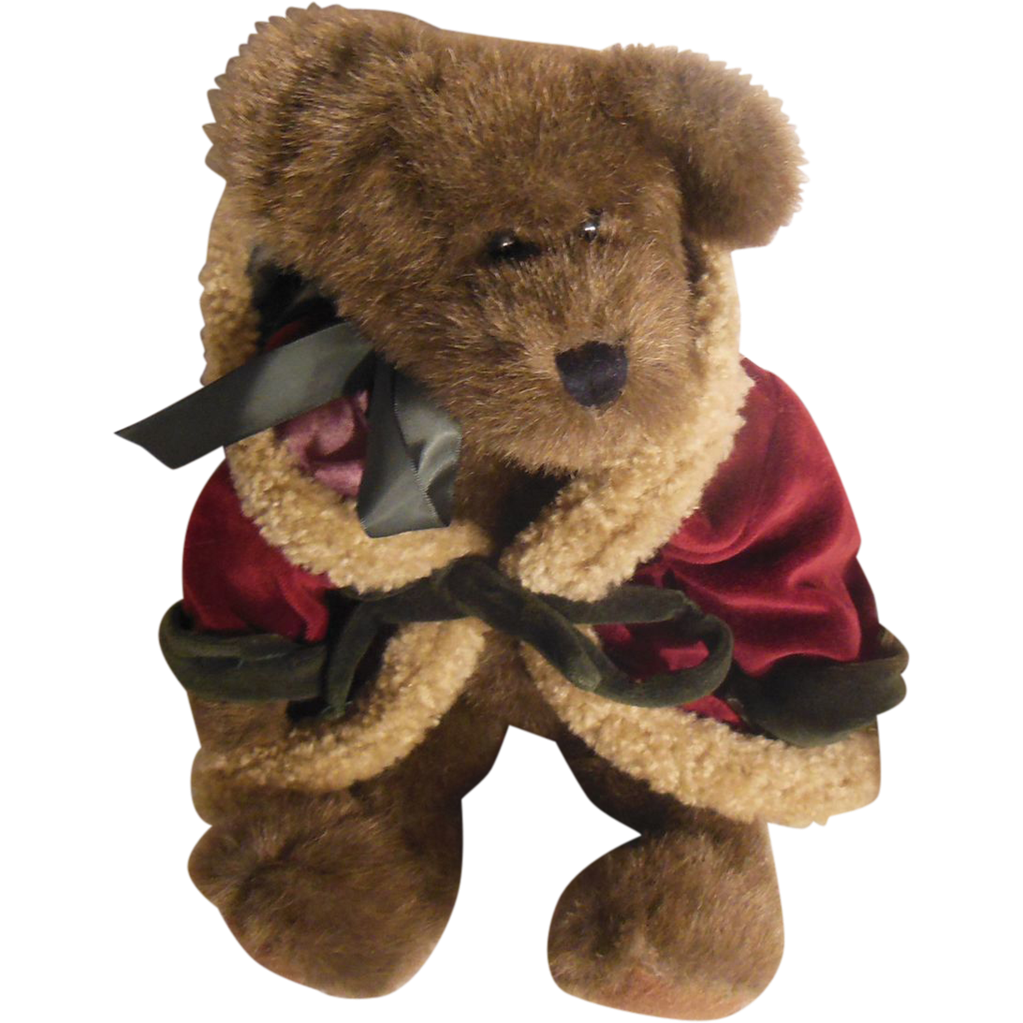 The Boyd's Collection Ltd.  J B Bean Plush Dark Brown Bear Red Velvet Trimmed Hooded Santa Cloak