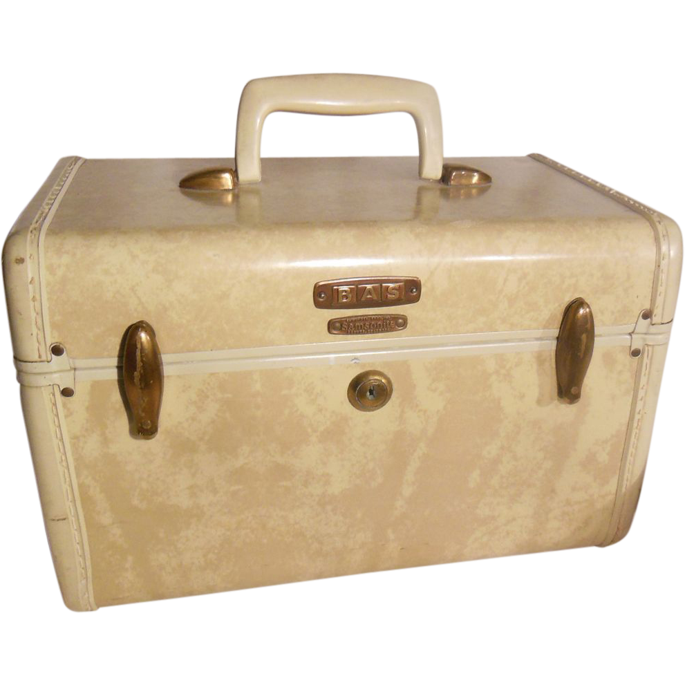 Mid Century Modern Samsonite Streamlite Marbled Cream Colored Train or Makeup Case