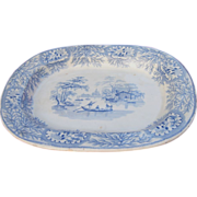 19th Century Light Blue Transferware Albion Platter Sampson Hancock & Co.