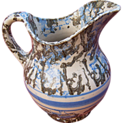 19th Century Blue and Black Spongeware Pitcher