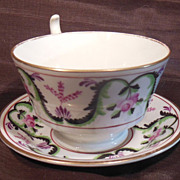 Beautiful 19th Century Hand Painted Rose & Garland Cup & Cup Plate