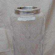 Signed Hawkes Engraved Cocktail Shaker with Sterling Silver Rim