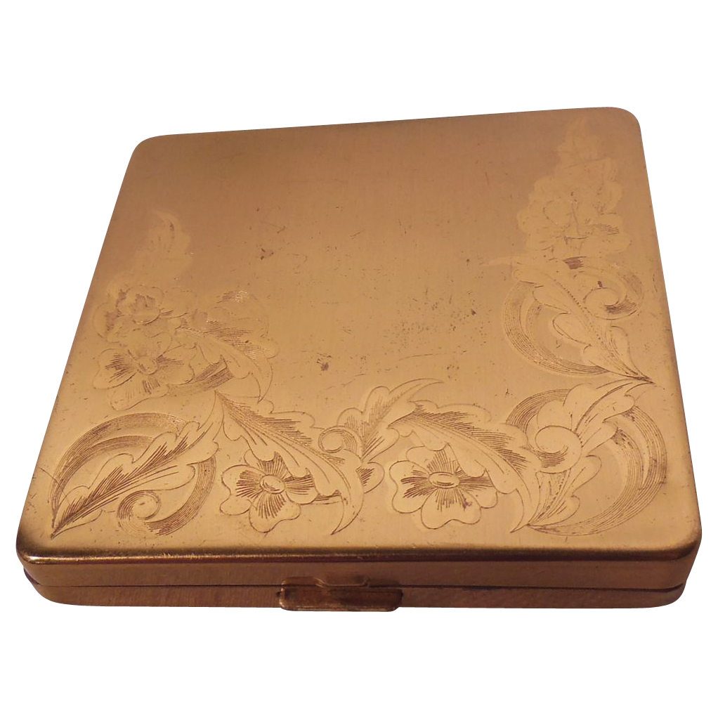 Vintage Columbia Fifth Avenue, U.S.A. Gold Tone Metal Floral Embossed Powder Compact