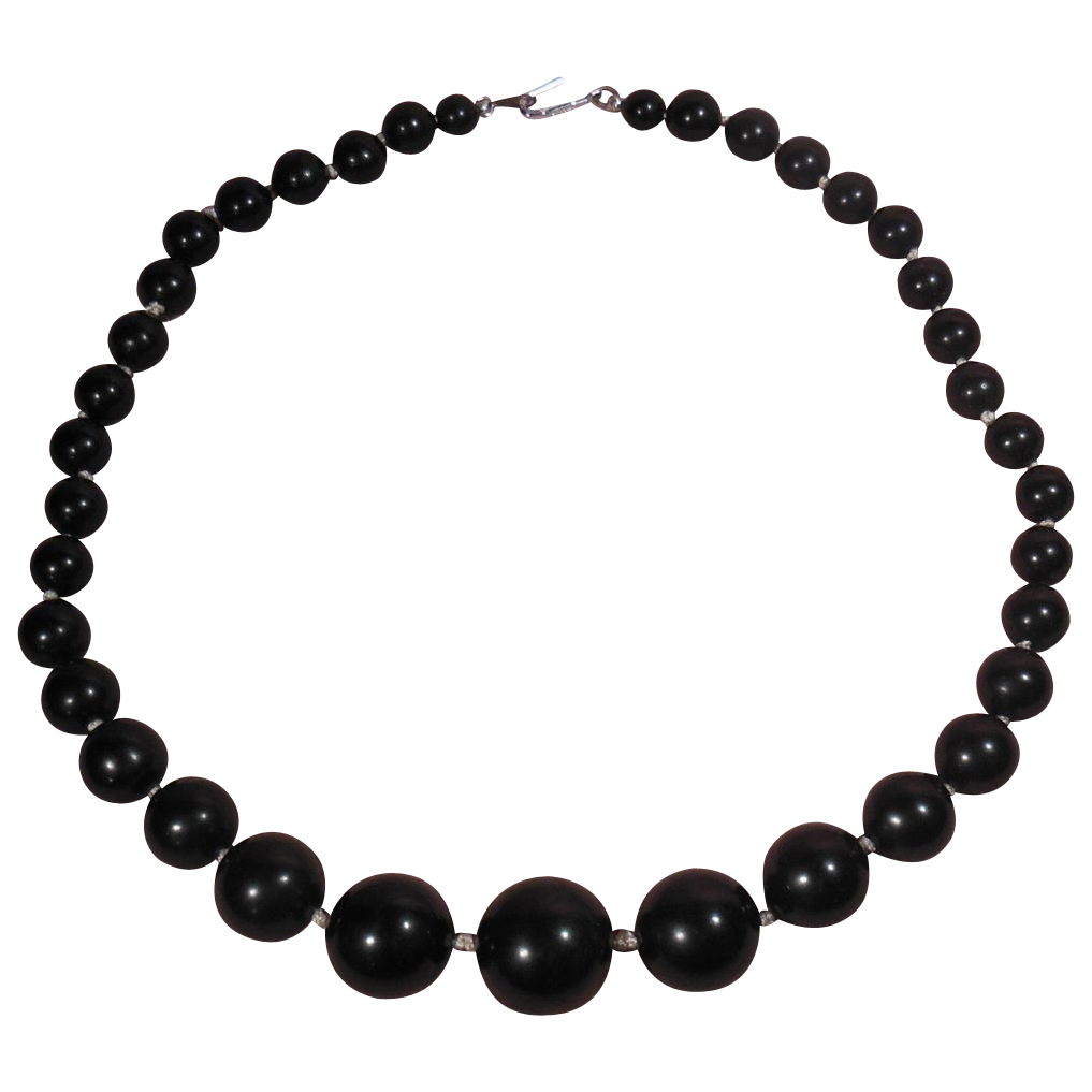 Classic Graduated Size Single Strand Black Bead Choker Necklace Japan