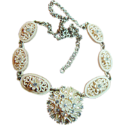 Intricately Carved Vintage Beige and Rhinestone Choker Necklace