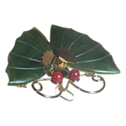 Jade Dynasty Collection Gold Tone Jade and Coral Butterfly Pin or Pendant in Original Red Silk Pouch