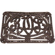 Sterling and Marcasite Rectangular Pin Initials ROL