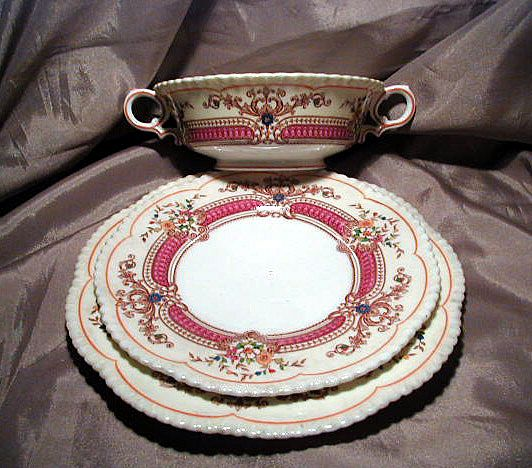 Cauldon Three Piece Bouillon Set with Cup, Saucer and Plate