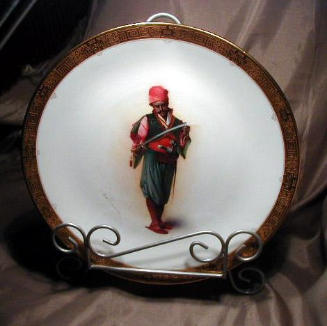 Rare Minton Artist Signed Plate of Turkish Soldier Holding a Sword 19th Century