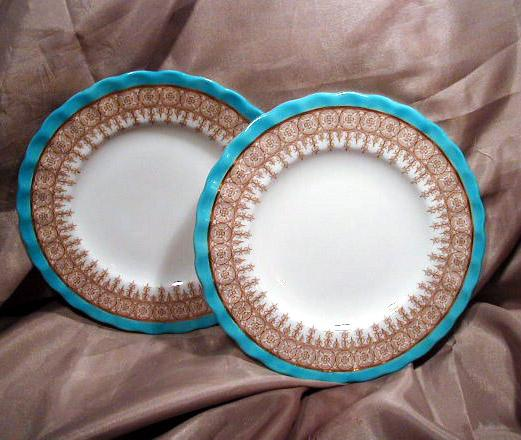 "Two 6"" Royal Worcester Blue, Gold & White Plates"