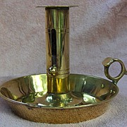 19th Century Pan Base Brass Push Up Chamberstick with thumb Grip