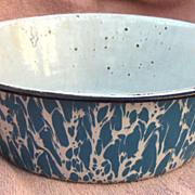 Blue Swirl Granite Ware Bowl or Pudding Pan