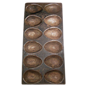 Old Metal Twelve Large Egg Shaped Chocolate Mold