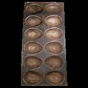 Old Metal Twelve Large Egg Shaped Chocolate Mold