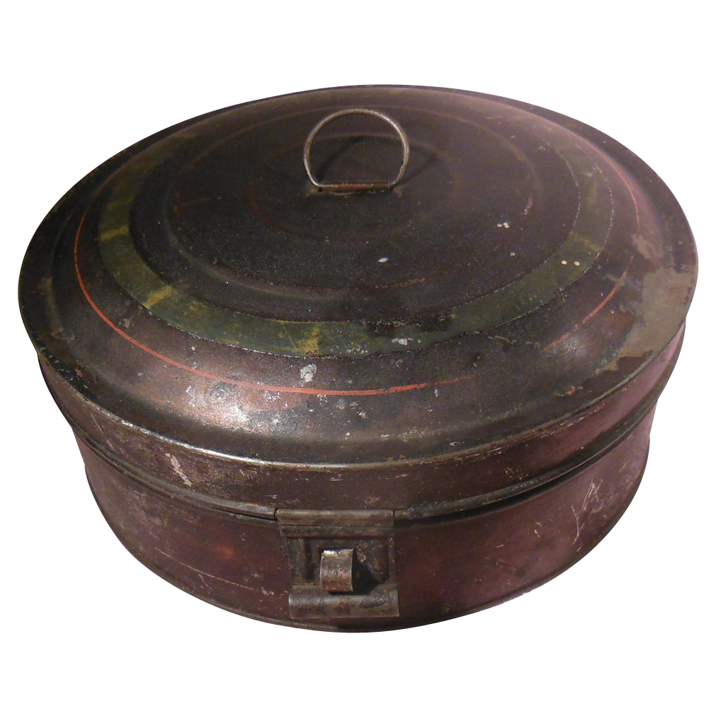 Early Tole Tin Spice Box With Stenciled Spice Tins And
