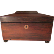 19th Century Bun Footed Rosewood Sarcophagus Tea Caddy with Key
