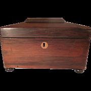 19th Century Bun Footed Rosewood Sarcophagus Tea Caddy with Key