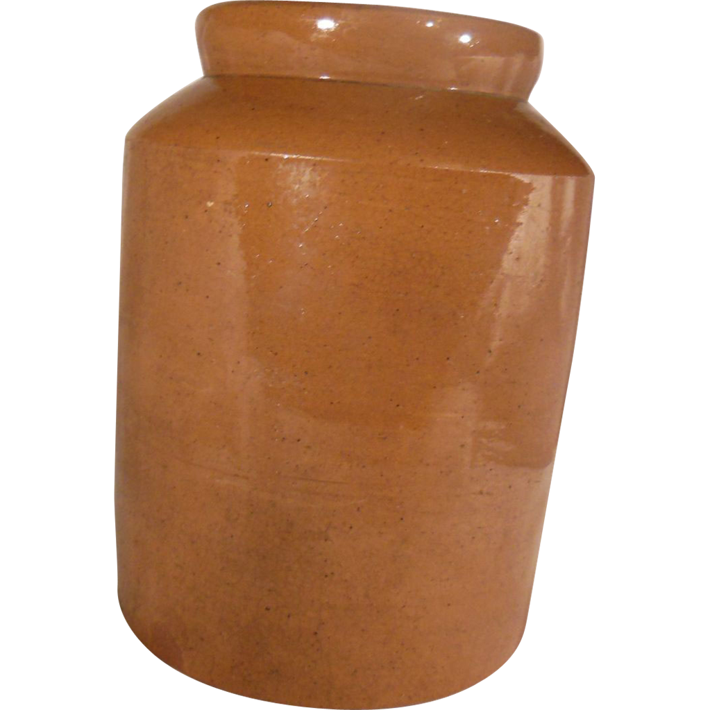 19th Century Brown Slipware Storage Crock