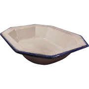 1800's Rectangular Blue Feather Edge Vegetable Bowl Hard to Find
